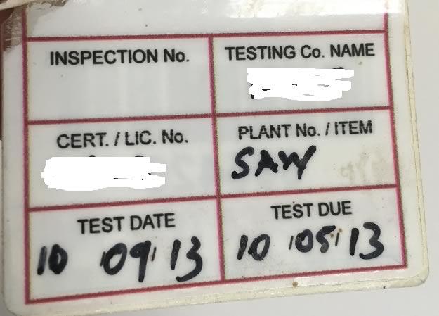 Non-compliant test tag