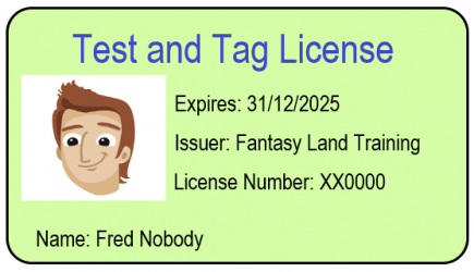 Test and tag license check