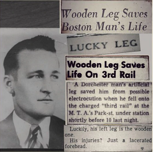 Wooden leg saves man's life