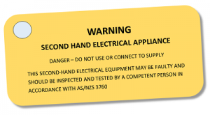 second hand electrical appliance label